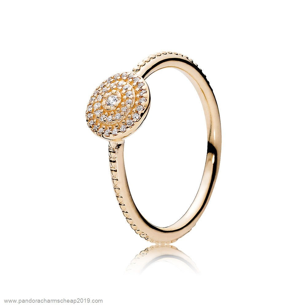 Pandora Original Pandora Collections Radiant Elegance Ring 14K Gold Clear Cz