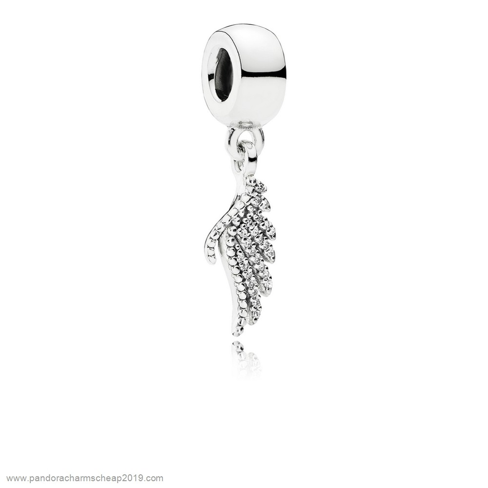Pandora Original Pandora Passions Charms Chic Glamour Majestic Feather Pendant Charm Clear Cz