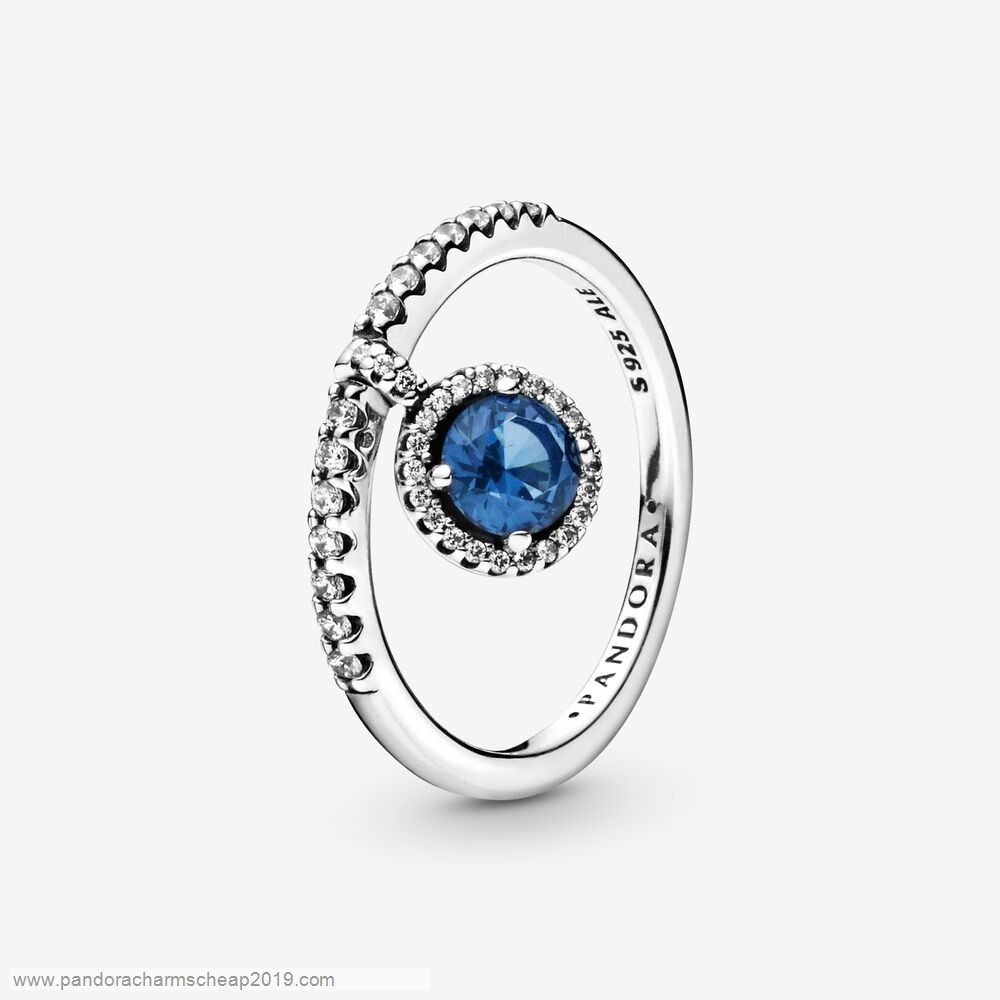 Pandora Original Dangling Blue Round Sparkle Ring
