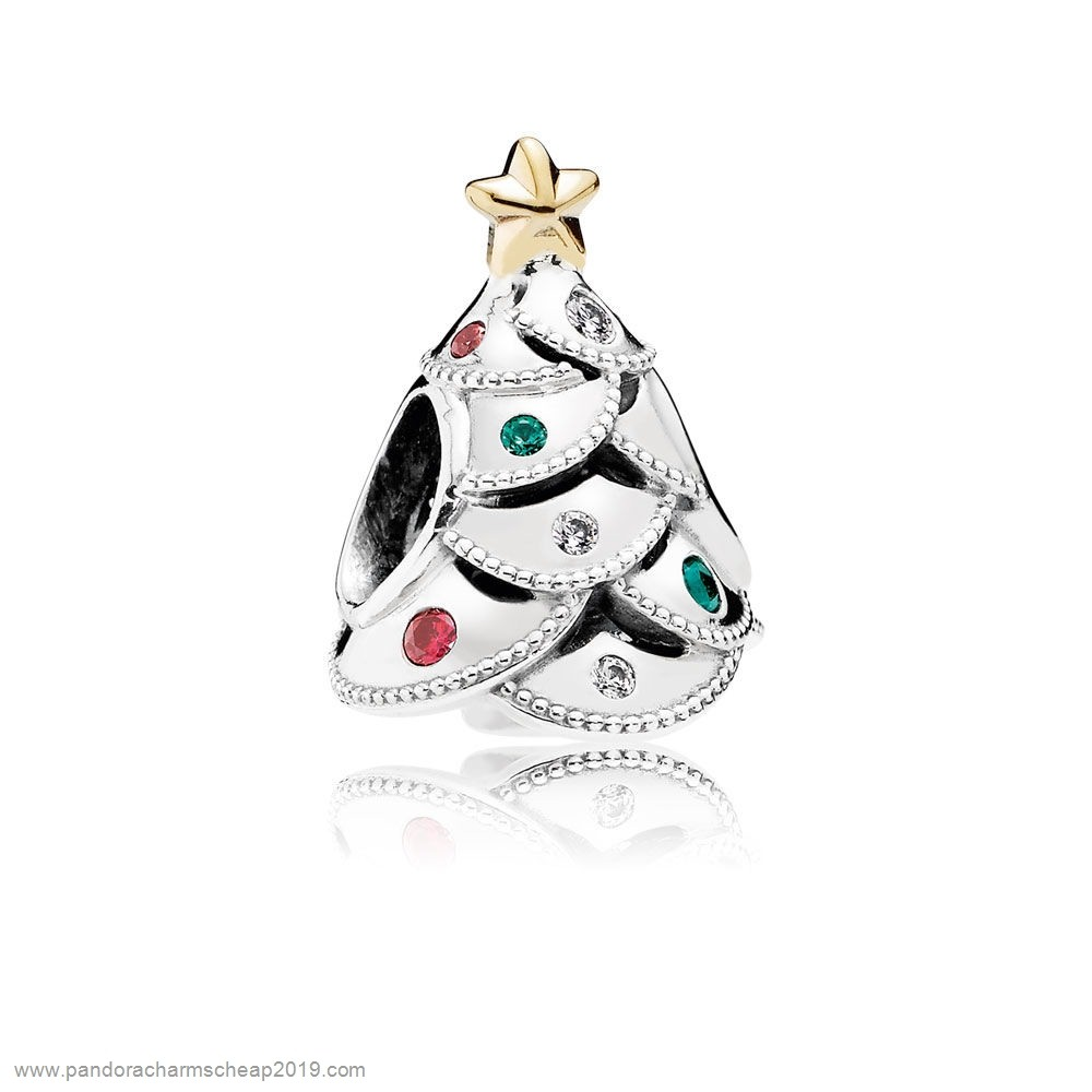 Pandora Original Inspiration Festive Tree Charm Multi Colored Cz