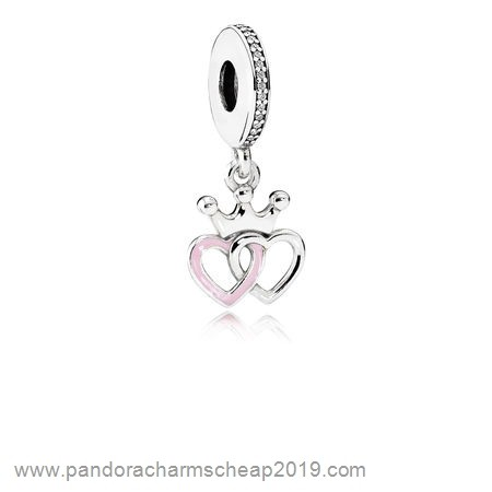 Pandora Original Pandora Fairy Tale Charms Crowned Hearts Pendant Charm Orchid Pink Enamel Clear Cz