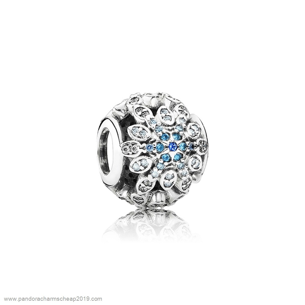 Pandora Original Pandora Nature Charms Crystalized Snowflakes Charm Blue Crystals Clear Cz