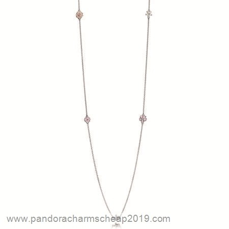 Pandora Original Pandora Chains Poetic Blooms Necklace Mixed Enamels Clear Cz Blush Pink Crystal