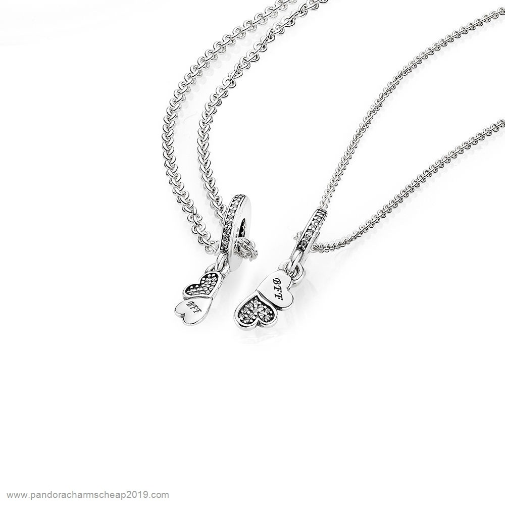 Pandora Original Hearts Silver Dangle With Clear Cubic Zirconia And Necklace
