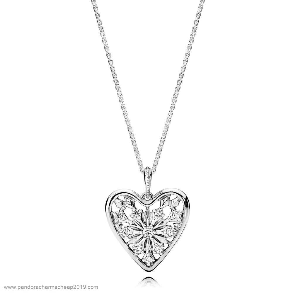 Pandora Original Pandora Chains With Pendant Heart Of Winter Necklace
