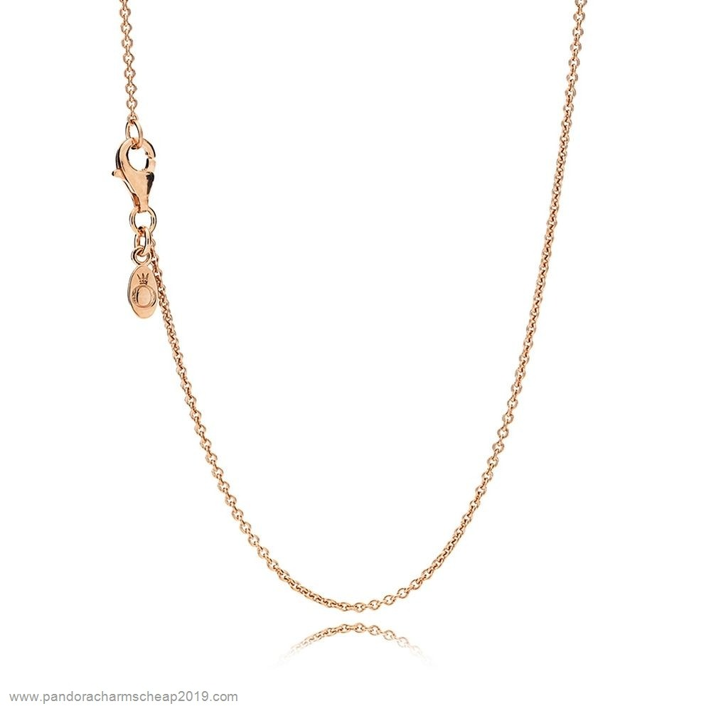Pandora Original Pandora Rose Necklace Chain Sterling Silver 14K Rose Gold