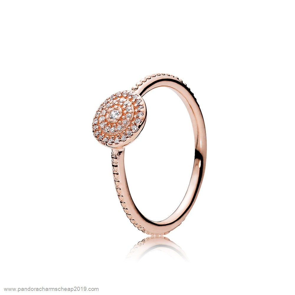 Pandora Original Pandora Rings Radiant Elegance Ring Pandora Rose Clear Cz