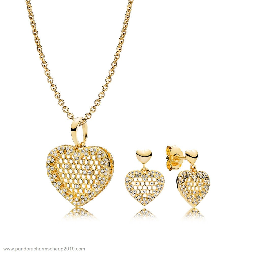 Pandora Original Pandora Shine Honeycomb Lace Necklace And Earring Set