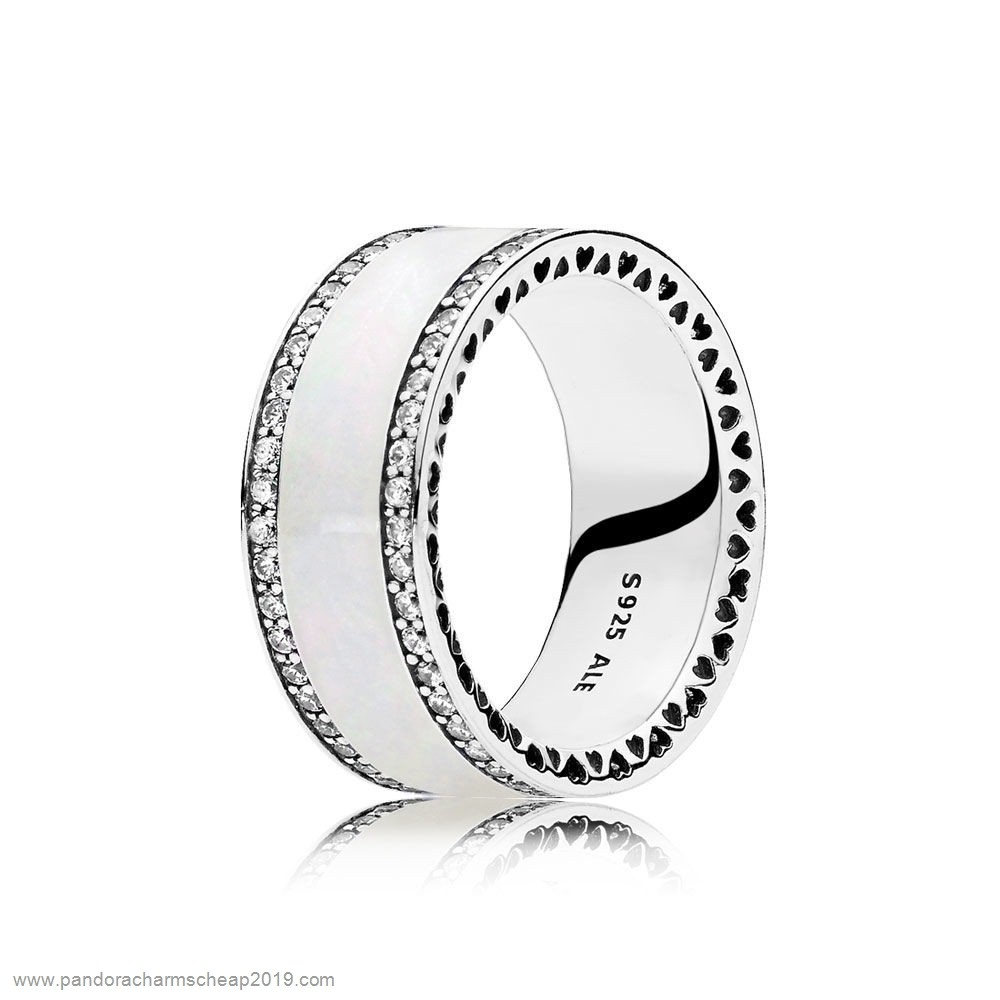 Pandora Original Pandora Rings Hearts Of Pandora Ring Silver Enamel Clear Cz