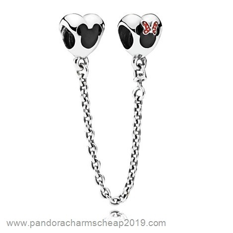 Pandora Original Pandora Safety Chains Pandora 925 Silver Mickey And Minnie Mouse Safety Chain