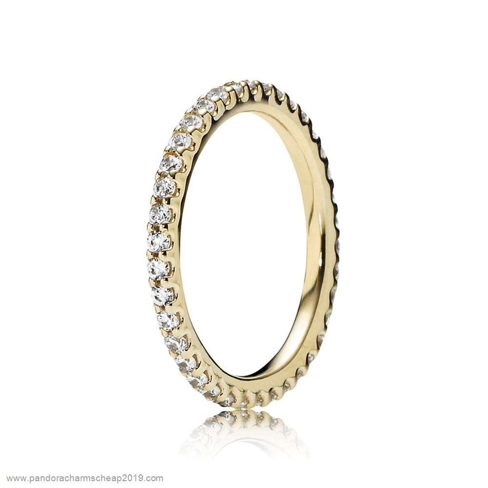 Pandora Original Pandora Rings Forever Pave Stackable Ring Clear Cz 14K Gold