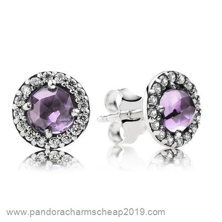 Pandora Original Pandora Earrings Glamorous Legacy Stud Earrings Amethyst Cz
