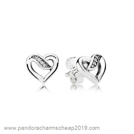 Pandora Original Pandora Earrings Ribbons Of Love Stud Earrings Clear Cz