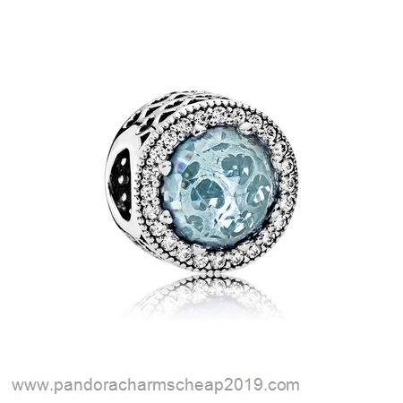 Pandora Original Pandora Touch Of Color Charms Radiant Hearts Charm Glacier Blue Crystals Clear Cz
