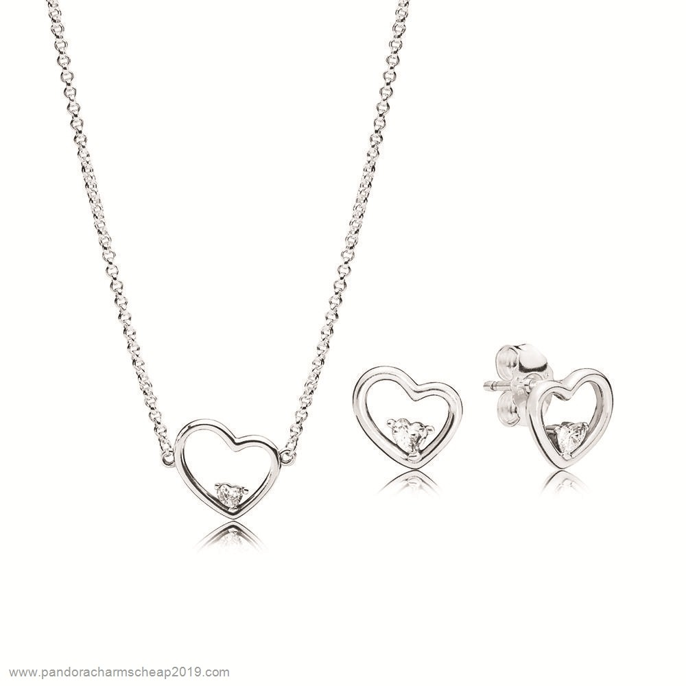 Pandora Original Shape Of My Heart Necklace And Earring Set